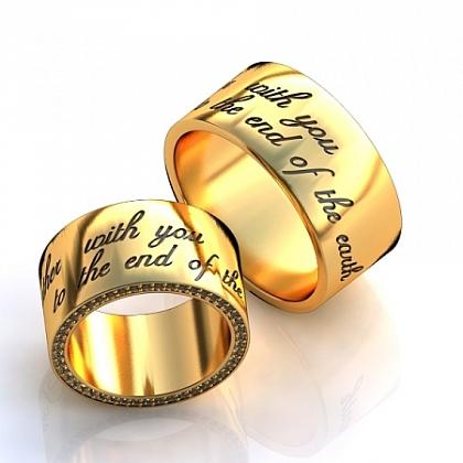 5c1e395d413d Широкие красивые обручальные кольца из золота с гравировкой стиха на заказ